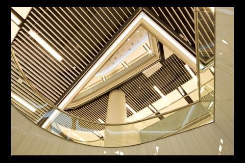 View upward inside the mall
